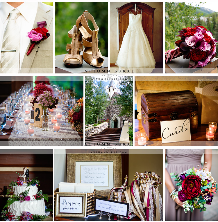 beaver creek allies cabin wedding details fall autumn decor bouquet cake dress