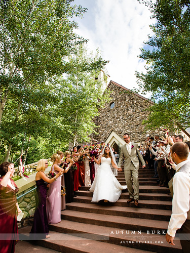 beaver creek colorado wedding chapel ceremony bride and groom exit
