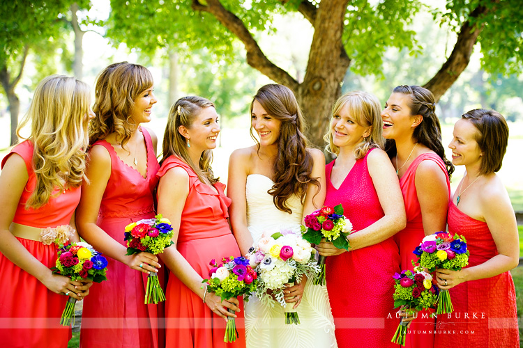 fort collins colorado wedding inn at city park bride laughing with bridesmaids