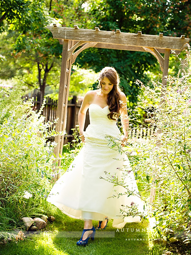 colorado bridal portrait through wildflowers inn at city park fort collins