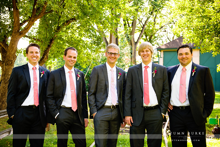 fort collins colorado wedding inn at city park groom with groomsmen