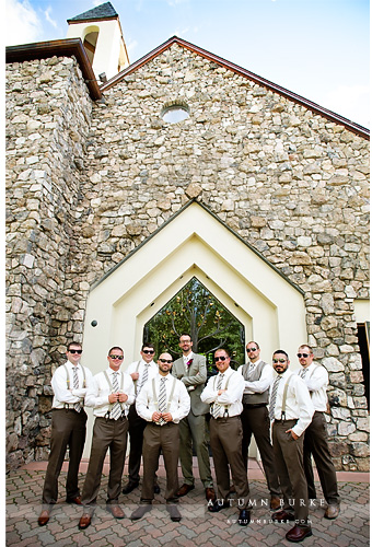 beaver creek chapel colorado mountain wedding groomsmen suspenders