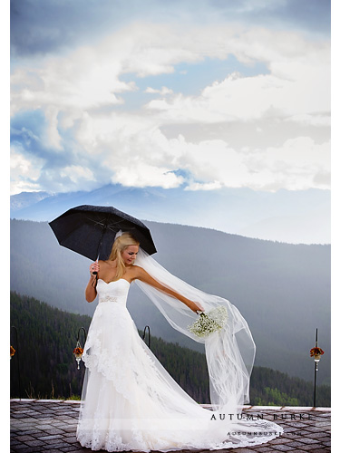 bride portrait with veil colorado mountain vail wedding deck