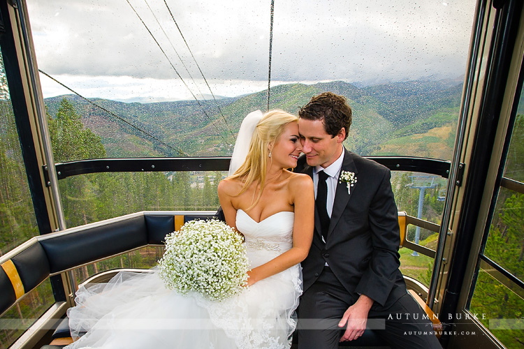 bride and groom in gondola vail colorado mountain wedding
