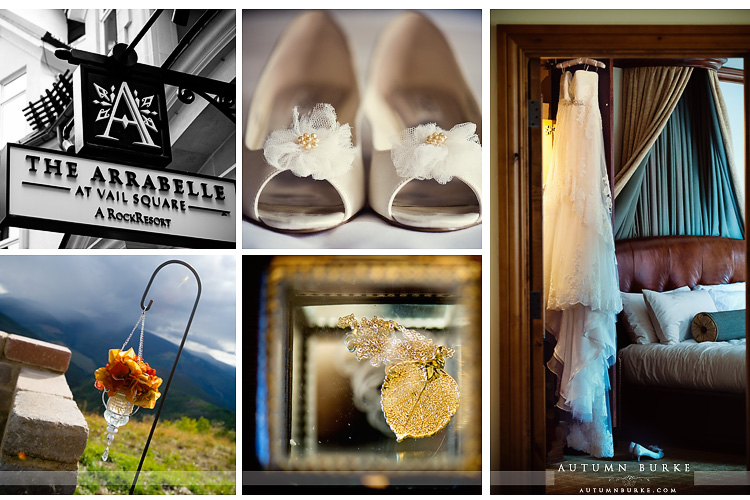 pronovias wedding dress shoes aspen leaf decor vail colorado mountain wedding details the arrabelle