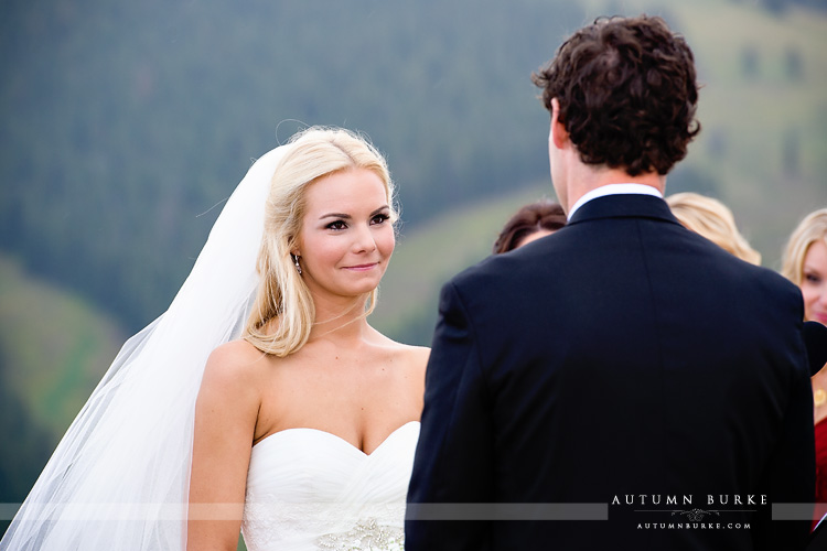 vail wedding deck colorado mountain wedding ceremony bride
