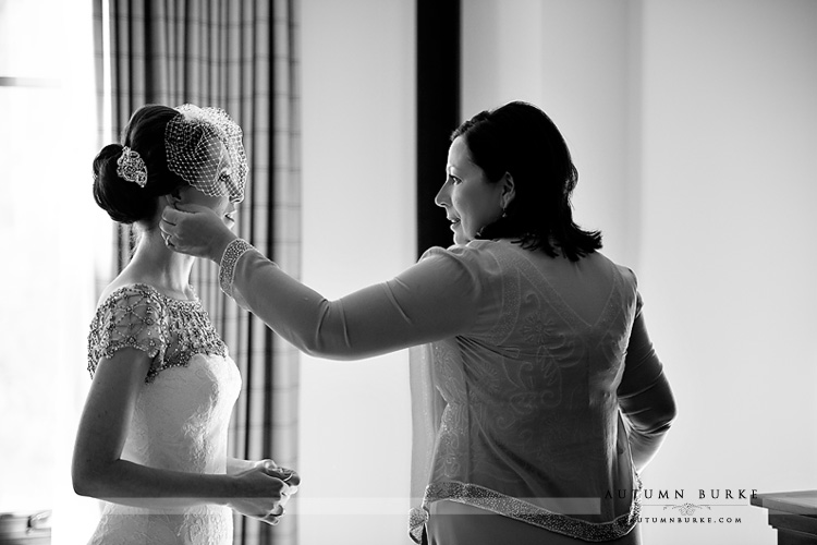 four seasons vail bridal prep moment with mom getting ready colorado mountain wedding