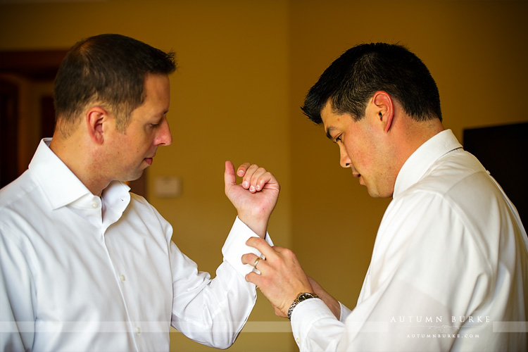 groom prep with best man cufflinks getting ready four seasons vail