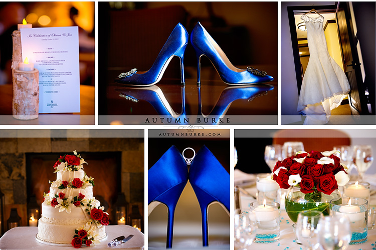 vail colorado wedding details and decor blue manolo blahnik shoes
