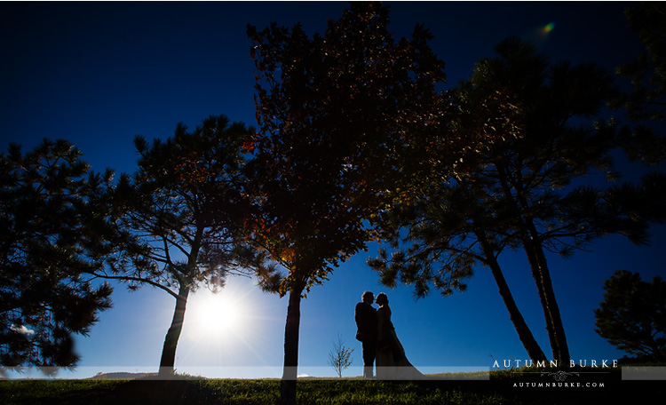 colorado wedding spruce mountain ranch bride and groom portrait silhouette