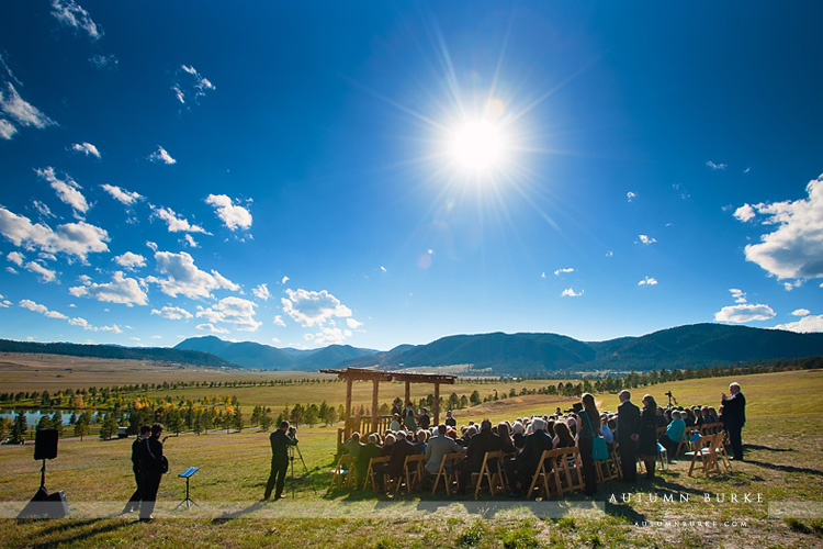 colorado wedding ceremony spruce mountain ranch larkspur