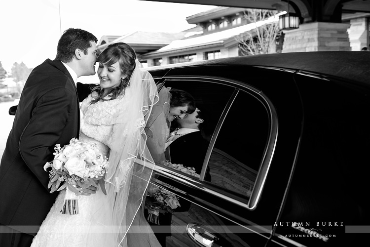 bride and groom with limo reflection the sanctuary golf colorado wedding
