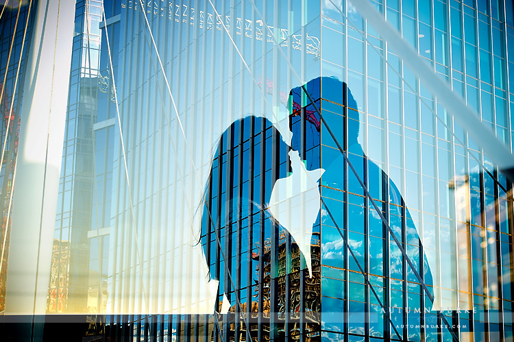 double exposure downtown denver colorado bride lodo wedding engagement