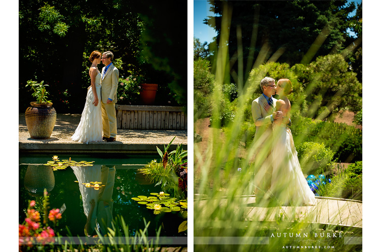 colorado denver botanic gardens wedding bride and groom reflection