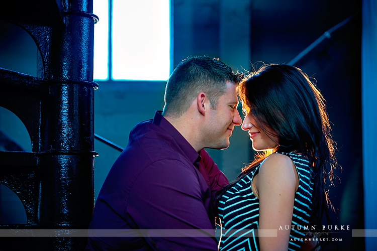 clocktower downtown denver engagement portrait session urban industrial