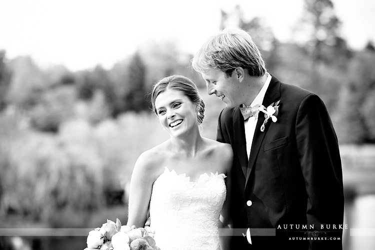 love and laughter just married colorado country club in denver bride and groom