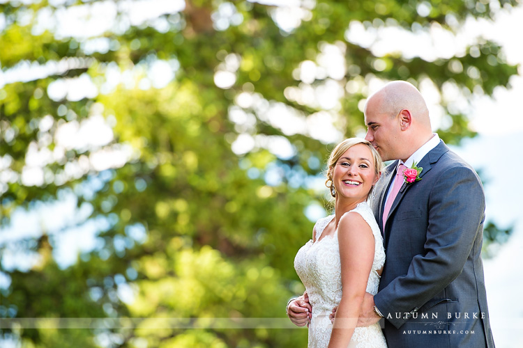 adorable wedding couple beaver creek colorado mountain wedding deck portrait love joy laughter