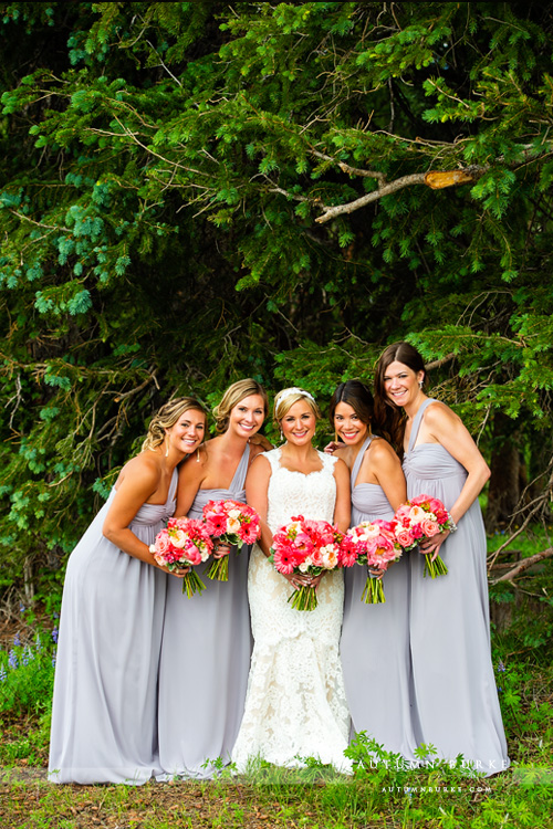 beautiful colorado mountain wedding beaver creek wedding deck ceremony bridesmaids