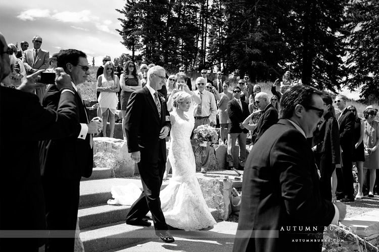 beaver creek mountain wedding deck ceremony bride with father walking down aisle