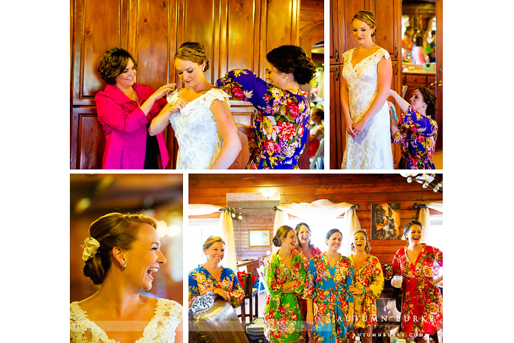 bride and bridesmaids custom robes crooked willow bridal suite getting ready colorado wedding larkspur