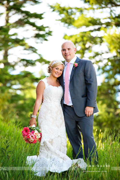 colorado mountain wedding beaver creek deck bride and groom portrait