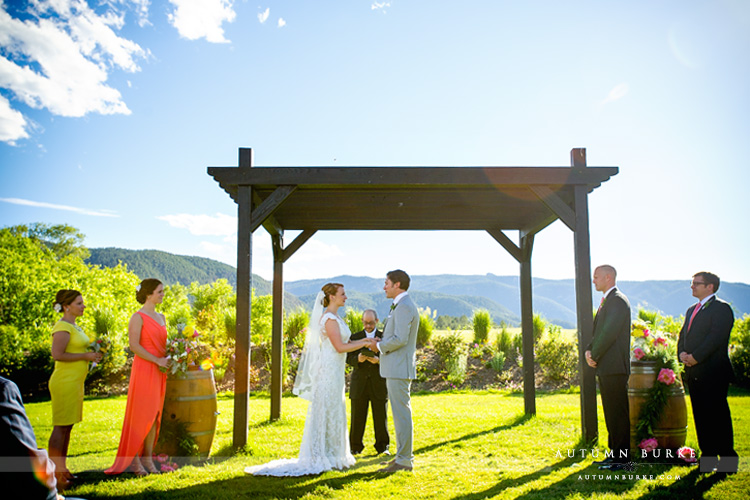 colorado outdoor wedding ceremony crooked willow farms larkspur barn rustic elegant