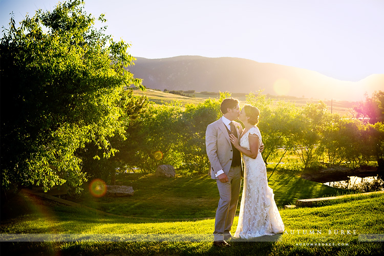 romantic colorado wedding crooked willow sun-kissed mountains late day light bride and groom