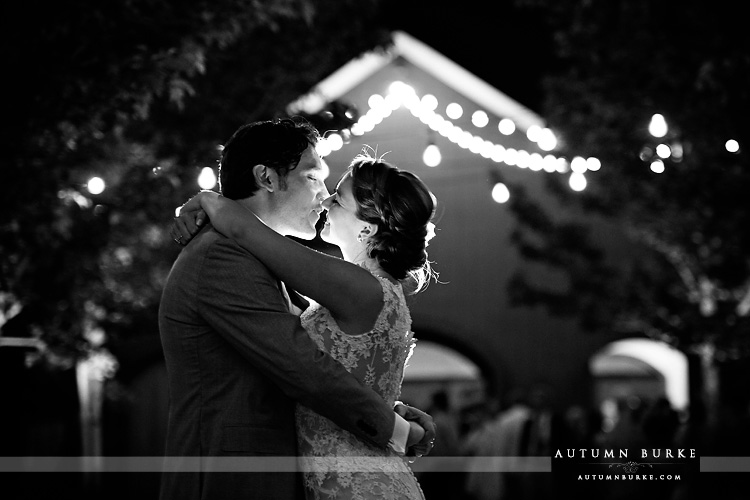 crooked willow farms wedding at night in courtyard bw larkspur colorado barn romance dramatic