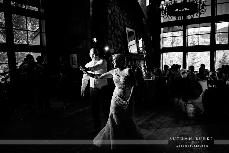 dramatic light black and white first dance saddle ridge beaver creek wedding colorado mountain