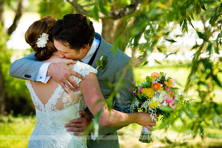 first look bride and groom crooked willow farms wedding larkspur colorado ranch outdoors
