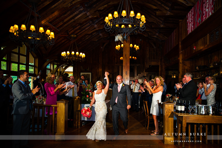 grand entrance saddle ridge colorado mountain beaver creek wedding reception bride groom
