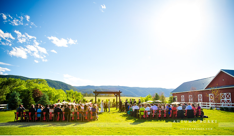 pano ceremony crooked willow farms wedding larkspur colorado ranch outdoors