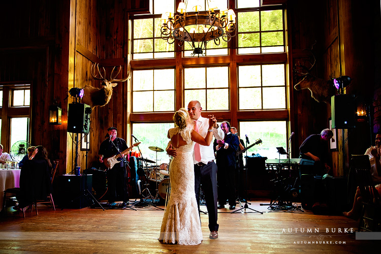 saddle ridge wedding first dance beaver creek colorado mountain bride groom