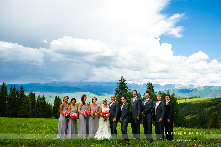 wedding party beaver creek mountain ceremony deck bridesmaids groomsmen