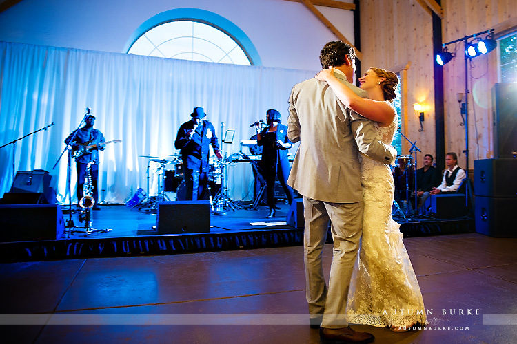 wedding reception first dance crooked willow wedding larkspur colorado band
