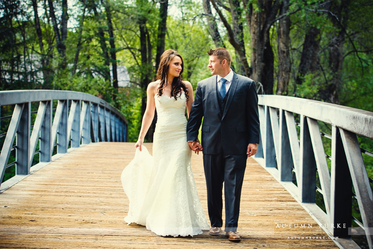 aspen colorado little nell mountain wedding first look bridge