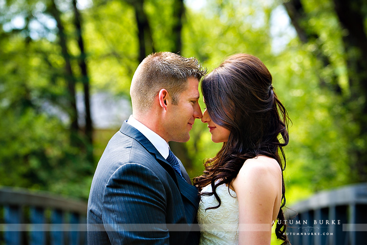 aspen colorado little nell mountain wedding first look bride and groom bridge portrait
