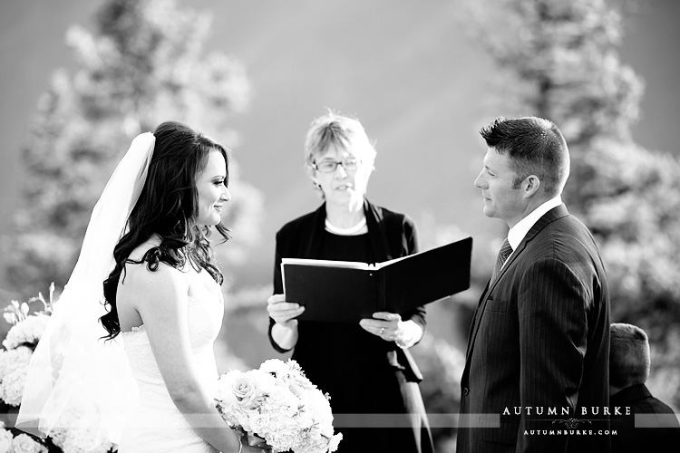 aspen colorado wedding deck ceremony bride and groom vows little nell bw