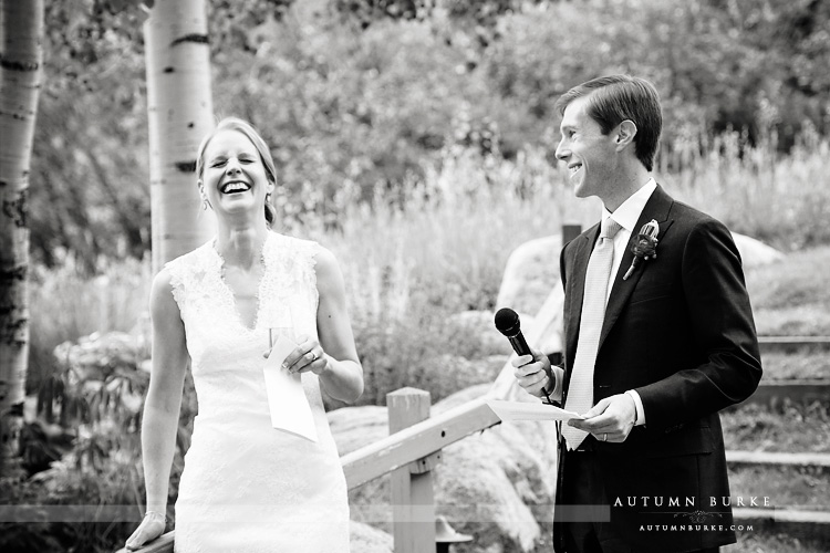 beaver creek saddle ridge wedding colorado mountain wedding bride and groom toast