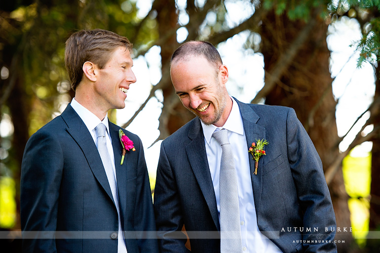 beaver creek saddle ridge wedding colorado mountain wedding deck groom and best man laughing