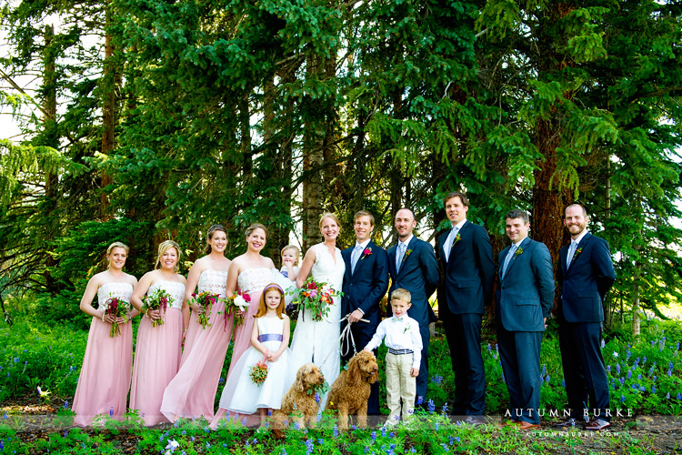 beaver creek saddle ridge wedding colorado mountain wedding deck wedding party with dogs portrait