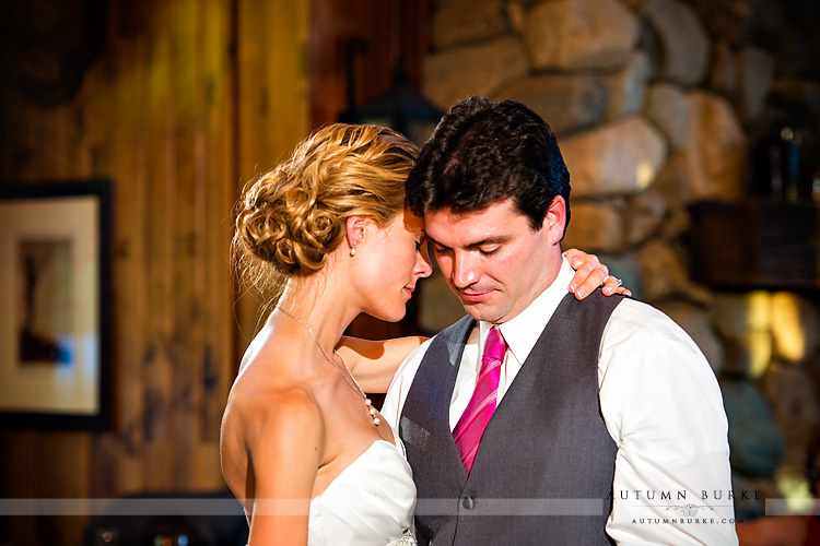 beaver creek saddle ridge wedding reception first dance colorado mountain bride and groom