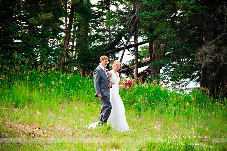 beaver creek wedding deck colorado mountain ceremony bride walks down aisle with dad