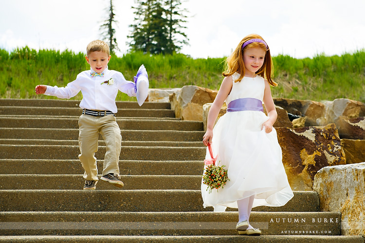 beaver creek wedding deck colorado mountain ceremony flower girl and ring bearer