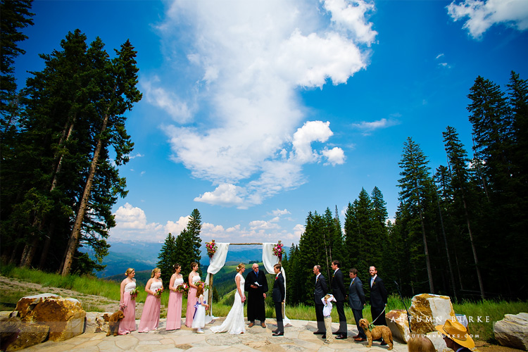 beaver creek wedding deck colorado mountain wedding ceremony with dogs