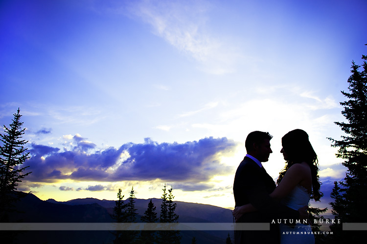 sunset little nell aspen colorado mountain wedding silhouette bride and groom