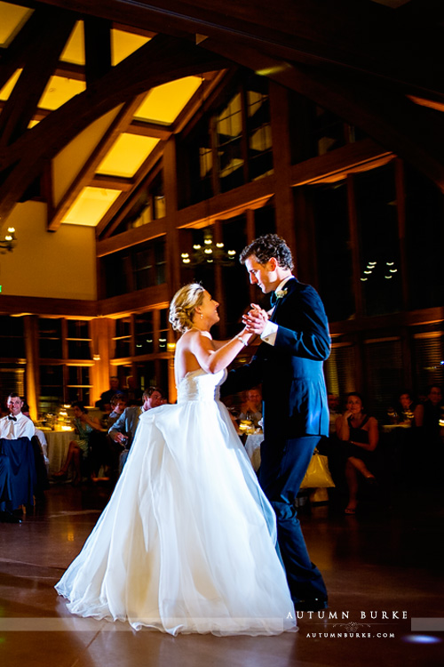 bride and groom first dance vail wedding reception donovan pavilion colorado mountain wedding vertical