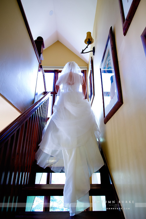 bride on staircase vail colorado mountain wedding