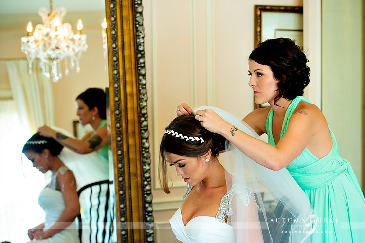 colorado highlands ranch mansion wedding bride getting ready veil bridal prep