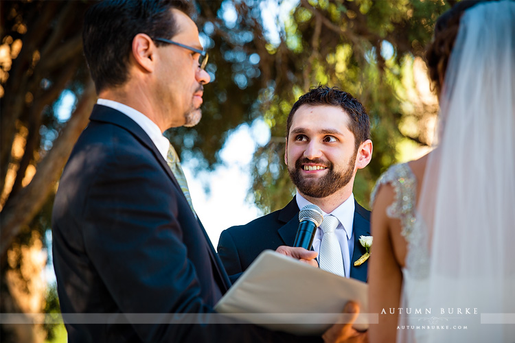 colorado highlands ranch mansion wedding ceremony groom vows
